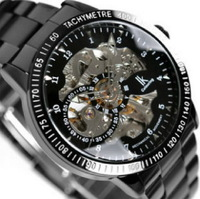 New Arrival Luxury Silver Skeleton Black Steel IK Brand Automatic Mechanical  Military Men 's Hand Watch