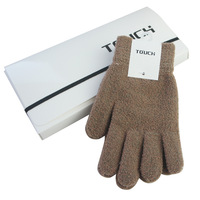 2013High quality Full touch screen gloves wool plush knitted magic touch gloves