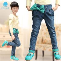 Retail 1 pcs children's pants jeans girl pencil long trousers autumn spring 2014 harem pants with bow New design High CC0492
