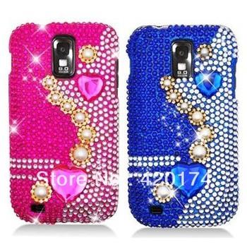 Rhinestone/Crystal/Bling/Diamond Hard Case for Samsung Galaxy S II (T-Mobile) T989, Hearts & Pearls (Blue/Pink) Full Diamond