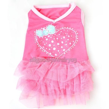 E#A1 Cute Net Yarn Cloth One-piece Pet Puppy Dog Bubble Skirt Dress Rose Red XS
