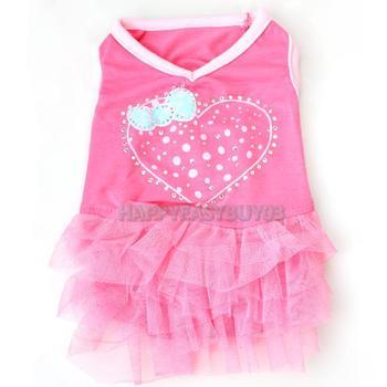 H3#R Cute Net Yarn Cloth One-piece Pet Puppy Dog Bubble Skirt Dress Rose Red XS