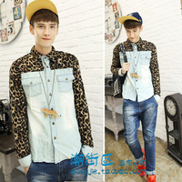 New designer mens Autumn  leopard print patchwork denim back pocket slim long-sleeve shirt  items 2013