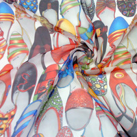 2013 colorful shoes chiffon printed cloth fabric diy silk scarf