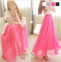 Elegant 2013 Summer Elasticity Waist Solid Long Skirts Chiffon Fashion Sweet Women Clothing White/Purple/White 1PC Free Shipping