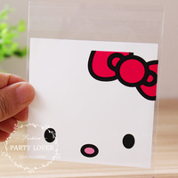 A Free shipping cute Hello kitty self adhesive cookie bags for children's birthday gift  jewelry packaging bags 9.9cm*10cm+3cm