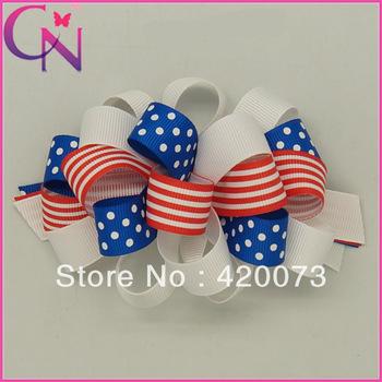 fashion 30 pieces/lot handmade American flag printed grosgrain ribbon with solid grosgrain ribbon korker hair bow CNHBW-1308195