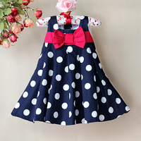 Girl Chiffon Dress, Hot Blue white Dot print High quality beauty sweet comforter princess dresses for baby and children