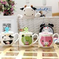 Free Shipping Couple Cartoon Animal Coffee Mugs Cups With Lid Spoon Cheap Retail