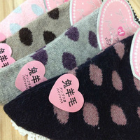 Women rabbit wool socks autumn and winter thermal knee-high socks dot