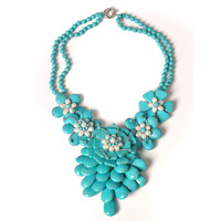 free shipping For nec  klace female short design chain turquoise pearl flower necklace fashion