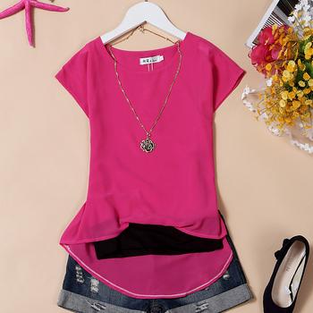 Women's pullover o-neck chiffon shirt female double layer chiffon sleeveless
