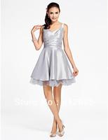 Silver Taffeta Straps Mini Party Dresses Cocktail Dresses Evening Dresses Pageant Dresses Custom Size 2-10-20 JLC820625