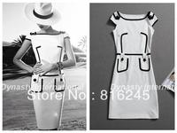 Elegant bodycon dress round neckline breathable knitting dress with epaulets pocket white/ black form fitting dresses