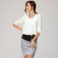 2013 women's short-sleeve shirt work wear 0l fashion work wear chiffon skirt tooling