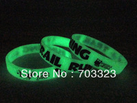 Glow in the dark silicon bracelet, available to printed custom design logo, silicon wristband, promotion gift, 100pcs/lot