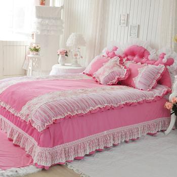 Beautydream textile super soft short plush bedding set piece rose lace decoration bed skirt