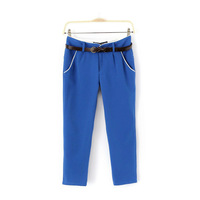 Fashion  2 100% cotton candy color slim capris pencil pants belt