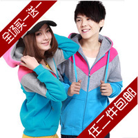 2013 spring and autumn casual plus size color block decoration lovers sweatshirt with a hood outerwear napping fleeces