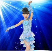 Child costume performance wear female child Latin dance clothes paillette modern dance dress