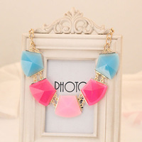 For nec  klace female short design chain bohemia fashion candy color acrylic gem punk accessories