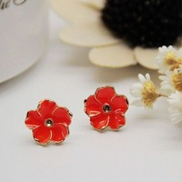 Min order $15 New coming Fashion Earrings accessories sweet  candy color small flower stud earring Wholesale free shipping