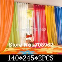 Sale&Wholesale  Europe gauze curtain  20 colors, sheer looped style voile curtains  140cm*245cm*2Panels