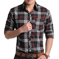 Mens Long Sleeve Plaids Luxury Casual Slim Fit Stylish Dress Shirts 4Color