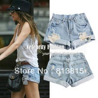 2013 Celebrity Style Vintage High Waisted Destroyed Ripped Cut Off Denim Shorts Plug Size S M L XL Free Shipping SH14