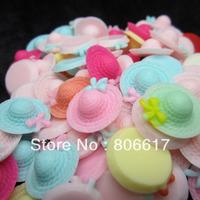Free Shipping 250 Random Mixed Resin Bowknot Hat Flatback Cabochon Scrapbook Embellishment DIY Phone Decoration 18mm(W02481F)