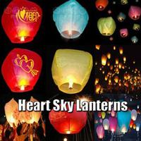 10pcs/lot Free Shipping Heart Sky Lanterns Wishing Lamp Flying Lanterns Sky Chinese Lanterns Birthday Wedding Party