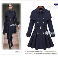 Fashion star style poncho cape epaulette skirt wool coat outerwear female woolen overcoat free shipping