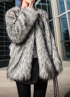Autumn and winter luxury elegant fur coat overcoat fashion overcoat outerwear   women jacket autumn  furry jacketjackets XXL XL