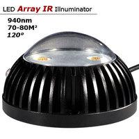 Free Shipping! CCTV Surveillance 2.5 Inch 3800mW 940nm LED Duai-Array Invisible Indoor IR Illuminator