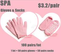 Wholesale 100pairs/LOT( Moisturize Soften Repair Whiten Skin Moisturizing Treatment Gel SPA gloves and socks) Skin care