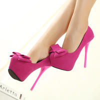 2013 autumn stiletto 14cm ultra high heels bow platform young girl round toe pumps women's fahsion pumps free shipping