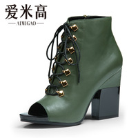 Aimigao 2013 vintage lacing cowhide thick heel high-heeled open toe boots