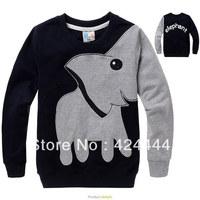 Black cartoon elephant  terry long sleeve sapphire single cartoon elephant print/embroidery pure cotton long sleeve T-shirt