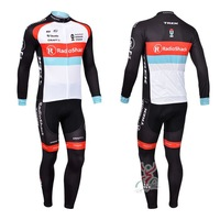 Free shipping 2013 black Radio shack Winter Fleece Thermal Long Sleeve Cycling Jersey Cycling Wear+BIB Pants