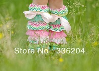 Free Shipping Wholesale Pastel Pink and Green Lace Chevron Leg Warmers