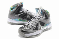 Free shipping LeBron 10 X Prism Black Strata Grey White Mens Basketball Shoes,size41-46