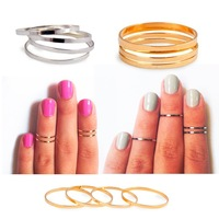 Unique Handemade Ring Hot Above The Knuckle Rings  Midi Set of 4Pcs / Set top of finger Rings Chic Gold/Silver
