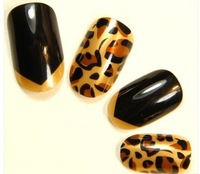 Free shipping (24pcs/lot) False nail with glue black leopard high gloss fake nail artificial nail patch noble and fashion