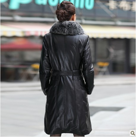 Женщины натуральная овчина кожа замша вниз парки пальто куртка с лисьим мехом женское верхняя одежда пальто vk1097