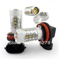 80W H11 High Power 16 LED Foglight fog Light DRL  Bulb Amber/Yellow White 12V 24V