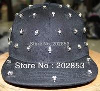 Free Shipping Skull Heads Shape Rivet Hip-hop Ghost Bopper Punk Caps  Jazz Dance Hat Baseball Chapeau