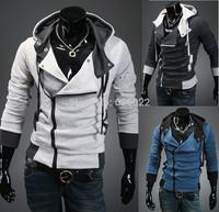2013 NEW Men's Desmond Miles Assassin's Creed III 3 Zipper Hoodie Lapel Collar Jacket Costume Coat Cosplay Hoodie Free Shipping