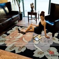 Carpet black-matrix double flower pure wool carpet living room carpet large bedroom carpet customize