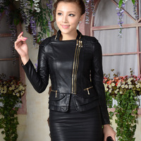 new arrival winter 2013 autumn women jacket  brand designer fashion motorcycle slim zipper bomber PU leather shorts top for lady