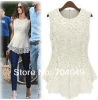 Free shipping 1piece/lot  2013 Summer New Lace Bottoming shirt Women Chiffon One Sleeveless On Clothes